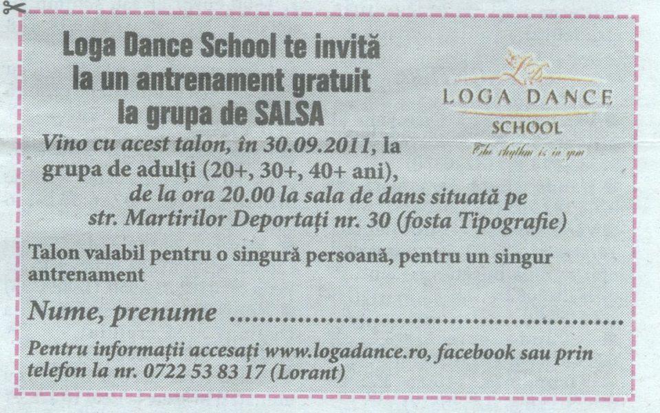 Loga Dance School te invita la un antrenament gratuit la grupa de Salsa (Informatia Zilei)