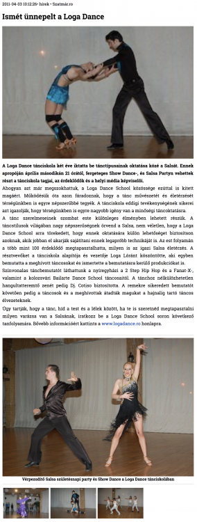 Ismet unnepelt a Loga Dance School (szatmar.ro)
