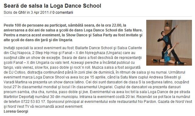 Seara de Salsa la Loga Dance School (Gazeta de Nord Vest)