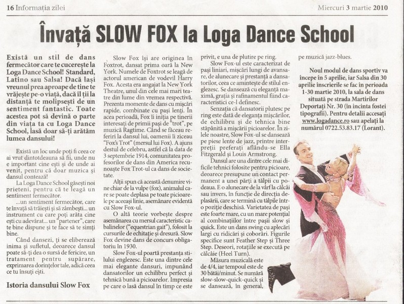 Invata Slow Fox la Loga Dance School (Informatia Zilei)