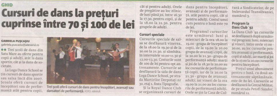 Cursuri de dans la preturi cuprinse intre 70 si 100 de lei (Adevarul)
