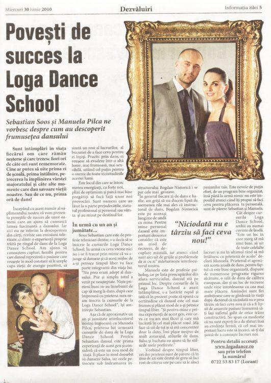 Povesti de succes la Loga Dance School - Sebastian Soos si Manuela Pilca (Informatia Zilei)