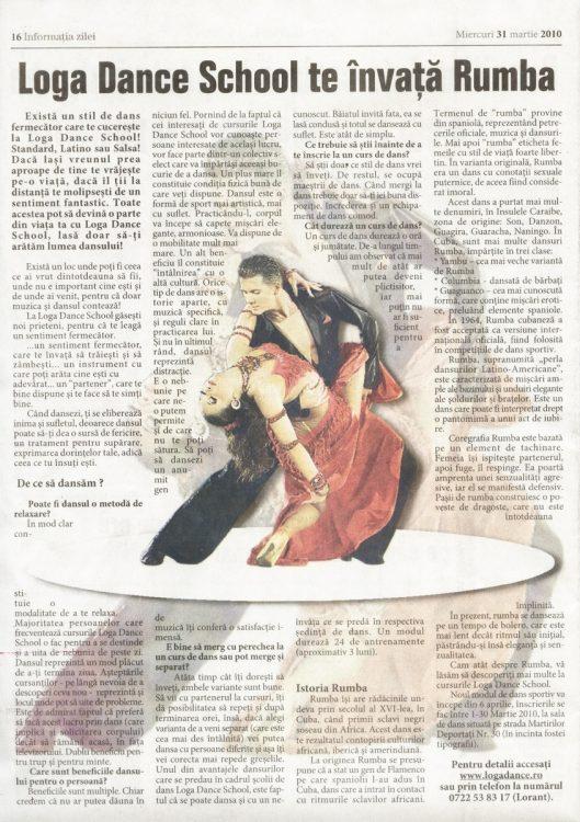Invata Rumba la Loga Dance School (Informatia Zilei)