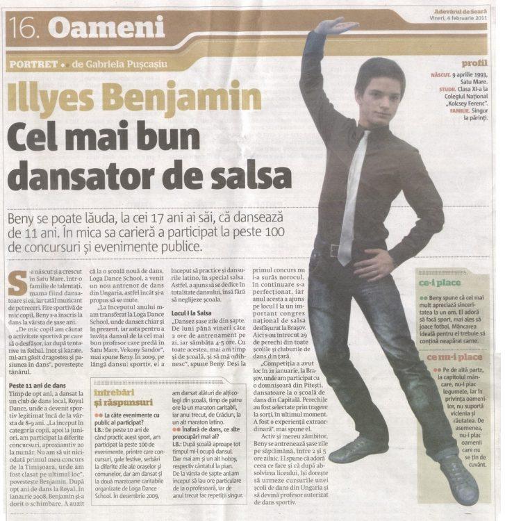 Illyes Benjamin – Cel mai bun dansator de Salsa (Adevarul)