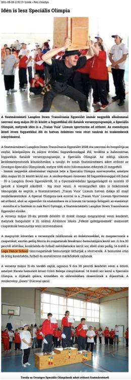 Iden is lesz Specialis Olimpia (szatmar.ro)