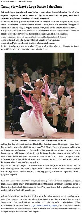 Tanulj slow foxot a Loga Dance Schoolban (szatmar.ro)