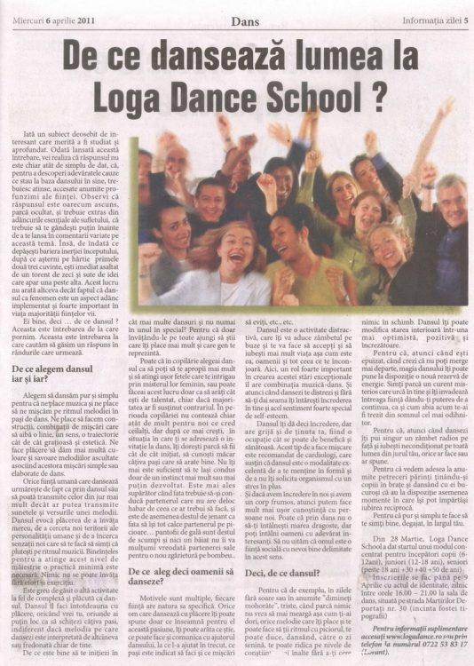 De ce danseaza lumea? un subiect dezbatut din prisma scolii Loga Dance School? (Informatia Zilei)