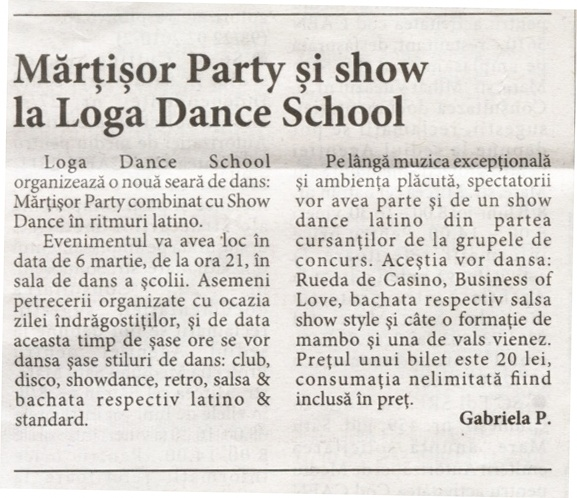 Martisor Party si show la Loga Dance School (Informatia Zilei)