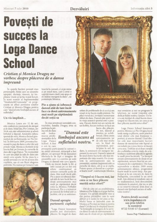 Povesti de success la Loga Dance  School - Cristian si Monica Dragos (Informatia Zilei)
