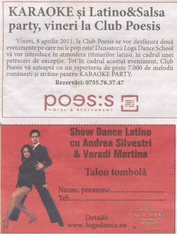 Karaoke si Latino & Salsa party, vineri la Club Poesis (Informatia Zilei)