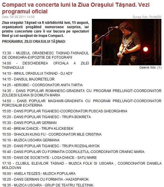 Compact va concerta luni la Ziua Orasului Tasnad. Vezi programul oficial (portalsm.ro)