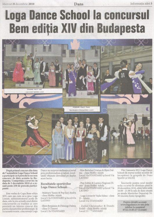 Loga Dance School la concursul BEM, editia XIV, din Budapesta (Informatia Zilei)