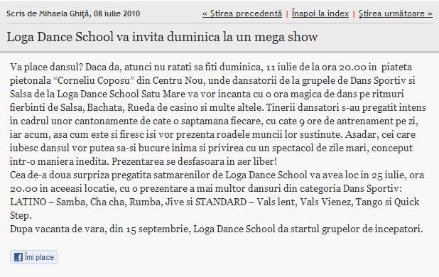 Loga Dance School va invita duminica la un mega show (informatia-zilei.ro)