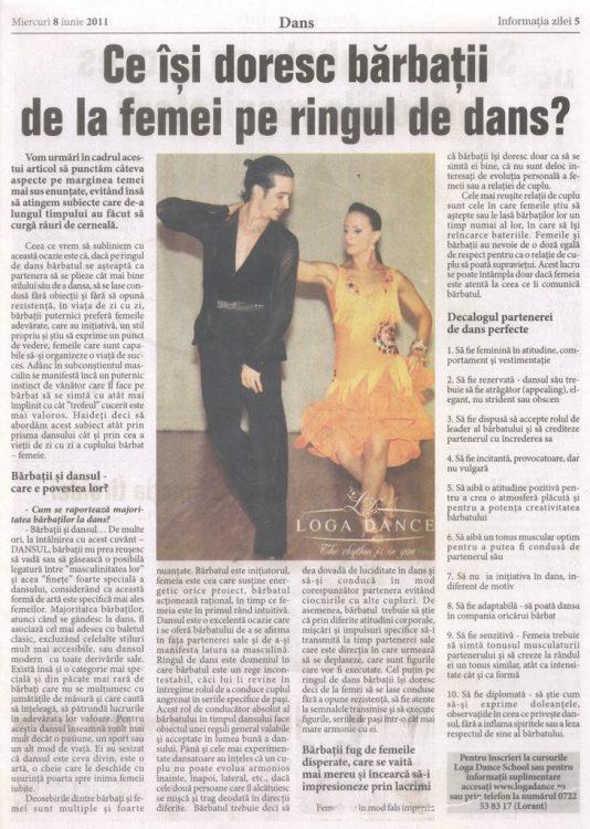 Ce isi doresc barbatii de la femei pe ringul de dans si in afara lui, articol publicat de Loga Dance School (Informatia Zilei)