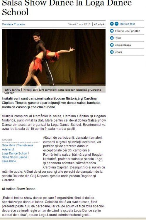 Salsa Show Dance la Loga Dance School (adevarul.ro)