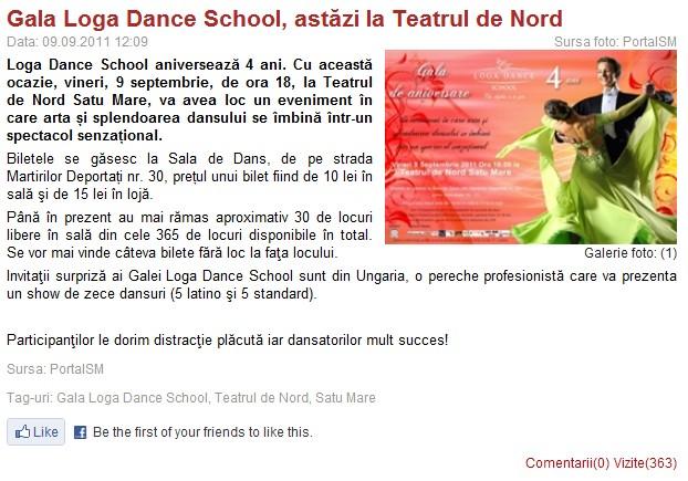 Gala Loga Dance School, astazi la Teatrul de Nord (portalsm.ro)