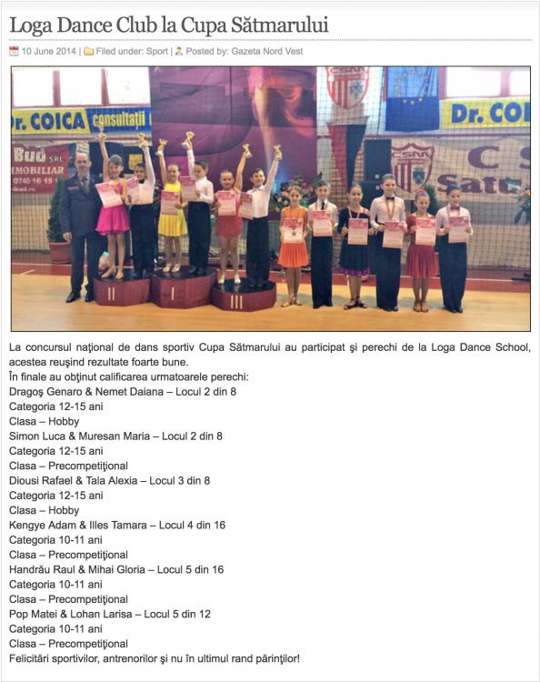 Loga Dance School la Cupa Satmarului (gazetanord-vest.ro)