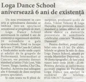Loga Dance School aniverseaza 6 ani de existenta (Informatia Zilei)