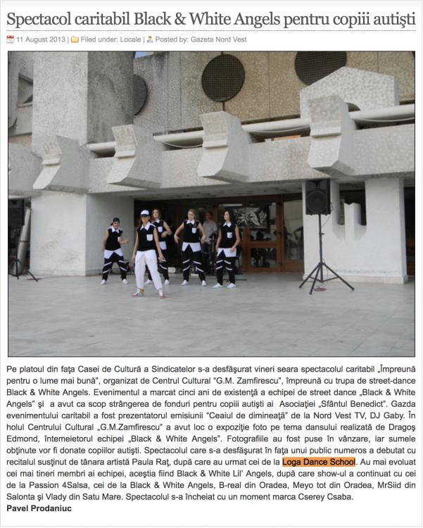 Spectacol caritabil Black & White Angels pentru copiii autisti (gazetanord-vest.ro)