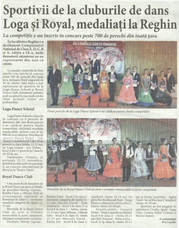 Sportivii de la cluburile de dans Loga si Royal, medaliati la Reghin (Informatia Zilei)