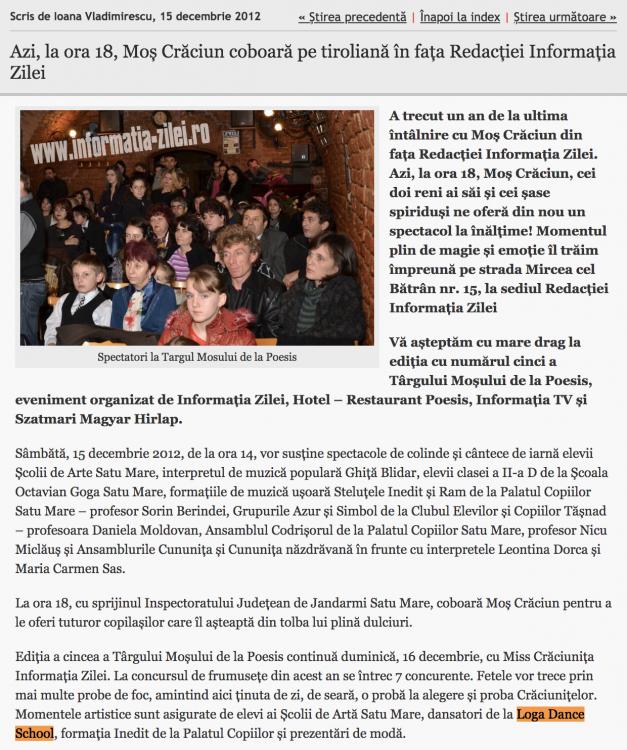 Azi, la ora 18, Mos Craciun coboara pe tiroliana in fata Redactiei Informatia Zilei (informatia-zilei.ro)