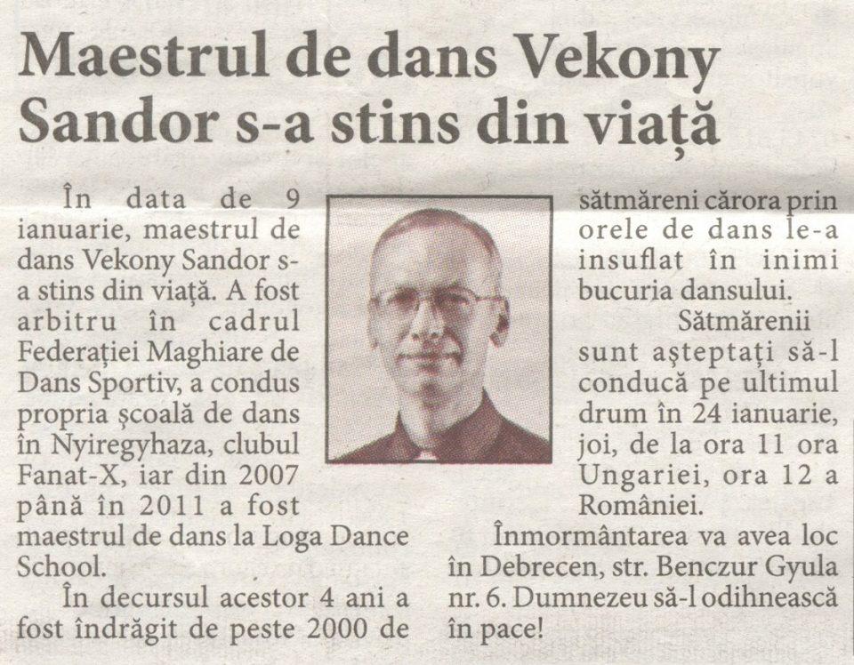 Maestrul de dans Vekony Sandor s-a stins din viata (Informatia Zilei)