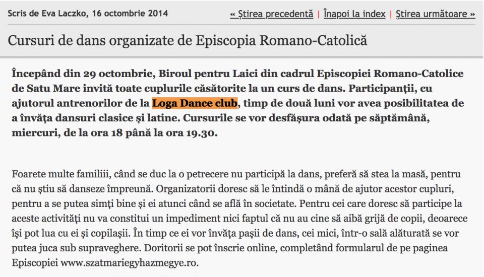 Cursuri de dans organizate de Episcopia Romano-Catolica (informatia-zilei.ro)