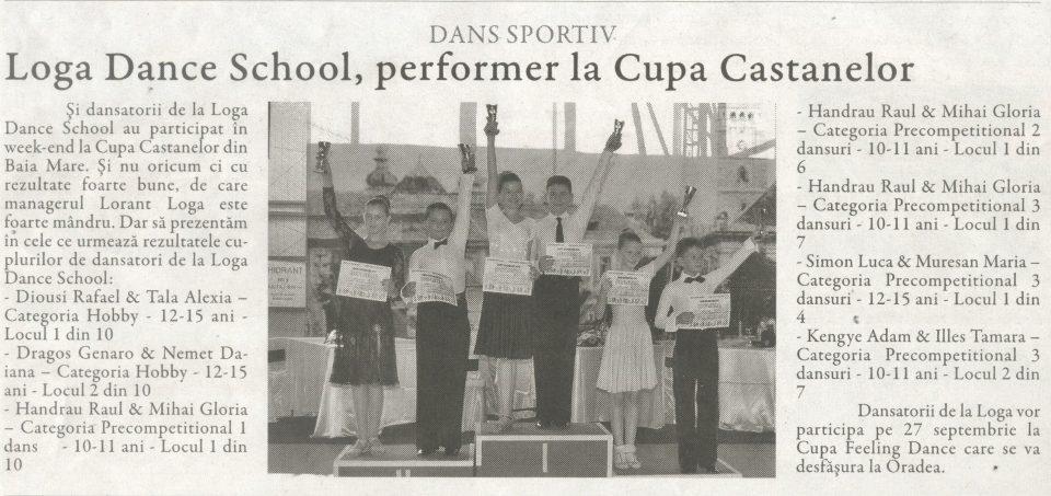 Dans sportiv / Loga Dance School, performer la Cupa Castanelor (Gazeta de Nord Vest)