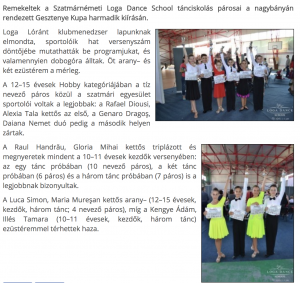 Dobogon a Loga Dance School tanciskolas parosai(frissujsag.ro)