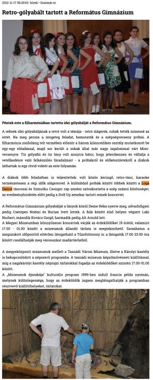 Retro-golyabalt tartott a Reformatus Gimnazium (szatmar.ro)