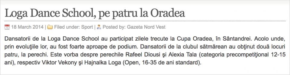 Loga Dance School, pe patru la Oradea (gazetanord-vest.ro)