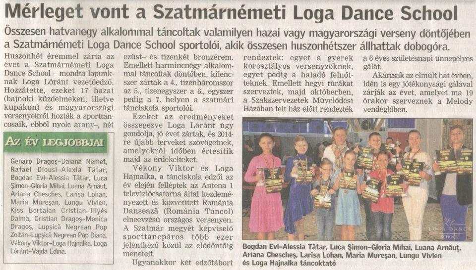 Merleget vont a Szatmarnemeti Loga Dance School(Friss Ujsag)