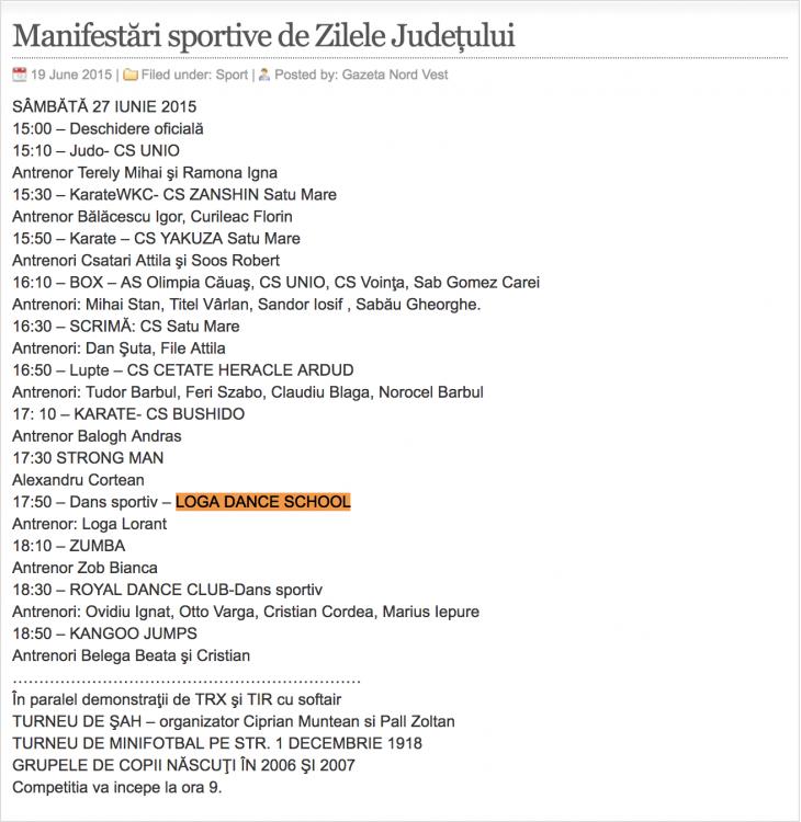 Manifestari sportive de Zilele Judetului (gazetanord-vest.ro)