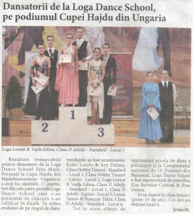 Dansatorii de la Loga Dance School, pe podiumul Cupei Hajdu din Ungaria (Informatia Zilei)