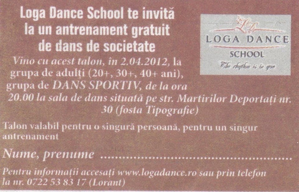 Loga Dance School te invita la un antrenament gratuity de dans de societate (Informatia Zilei)