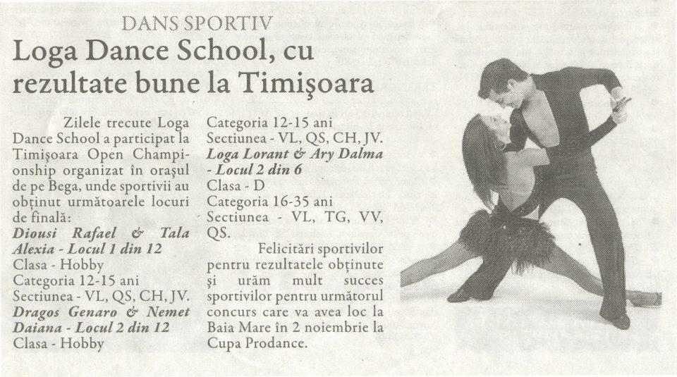 Loga Dance School, cu rezultate bune la Timisoara (Gazeta de Nord Vest)