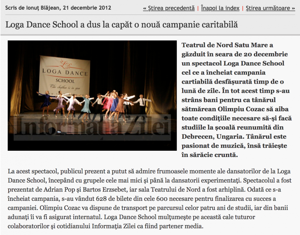 Loga Dance School a dus la capat o noua campanie caritabila (informatia-zilei.ro)