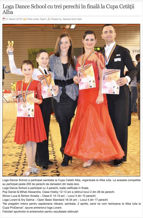 Loga Dance School cu trei perechi in finala la Cupa Cetatii Alba (gazetanord-vest.ro)