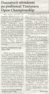 Dansatorii satmareni pe podiumul Timisoara Open Championship (Informatia Zilei)