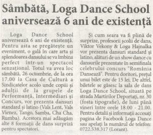 Sambata, Loga Dance School aniverseaza 6 ani de existenta (Informatia Zilei)