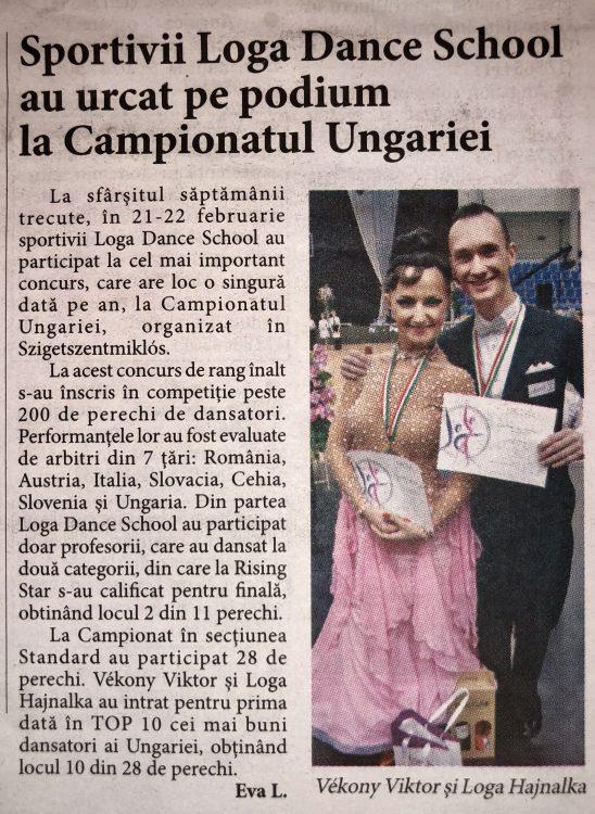 Sportivii Loga Dance School au urcat pe podium la Campionatul Ungariei (Informatia Zilei)