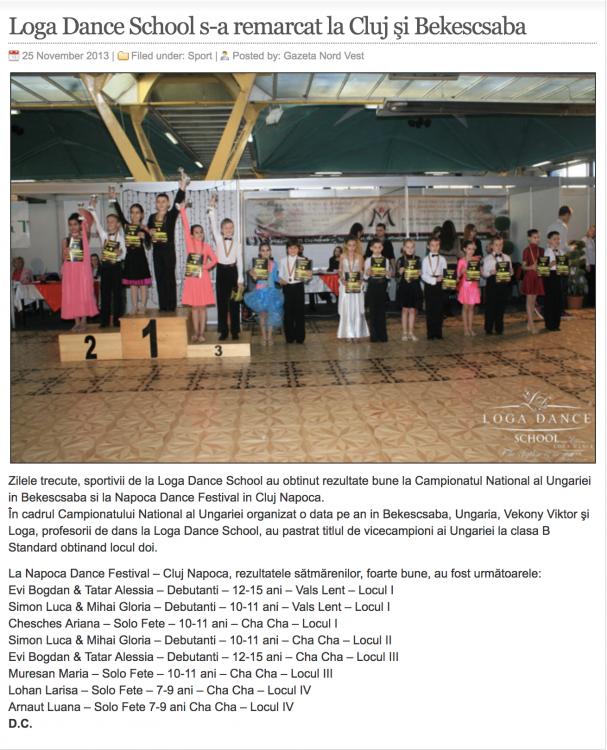 Loga Dance School s-a remarcat la Cluj si Bekescsaba (gazetanord-vest.ro)