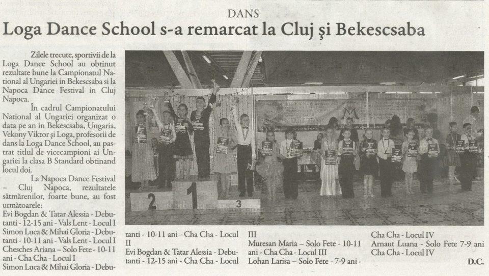 Loga Dance School s-a remarcat la Cluj si Bekescsaba (Gazeta de Nord Vest)