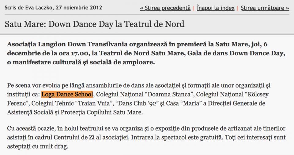 Down Dance Day la Teatrul de Nord (informatia-zilei.ro)