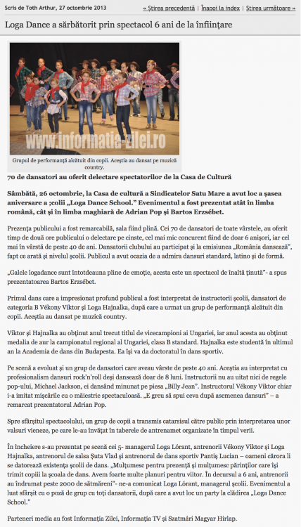 Loga Dance School a sarbatorit prin spectacol 6 ani de la infiintare (informatia-zilei.ro)
