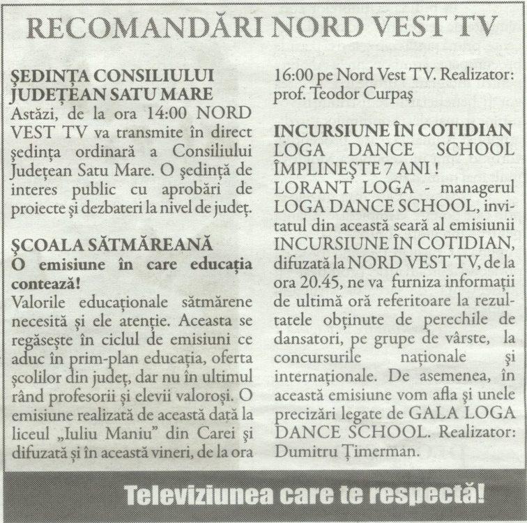 Recomandari Nord-Vest TV (Gazeta de Nord Vest)