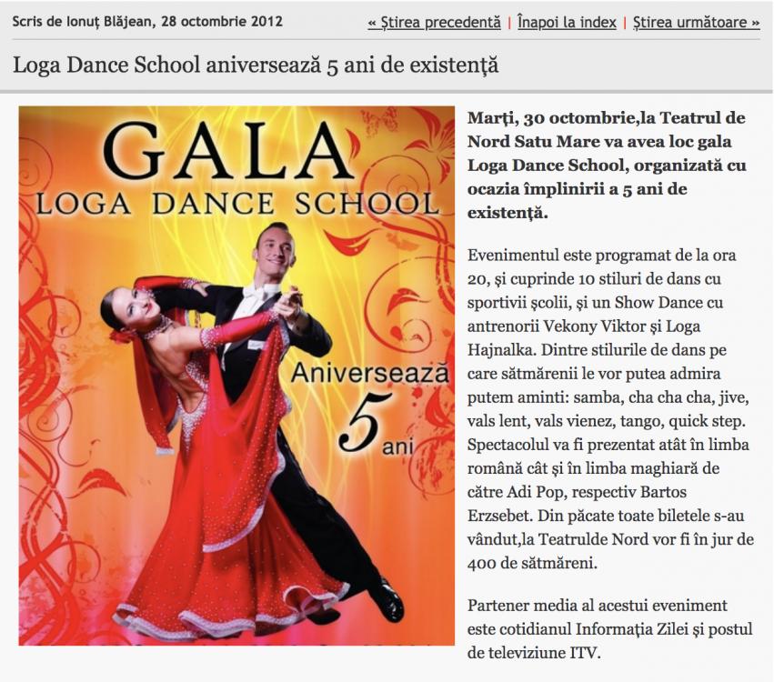 Loga Dance School aniverseaza 5 ani de existenta (informatia-zilei.ro)