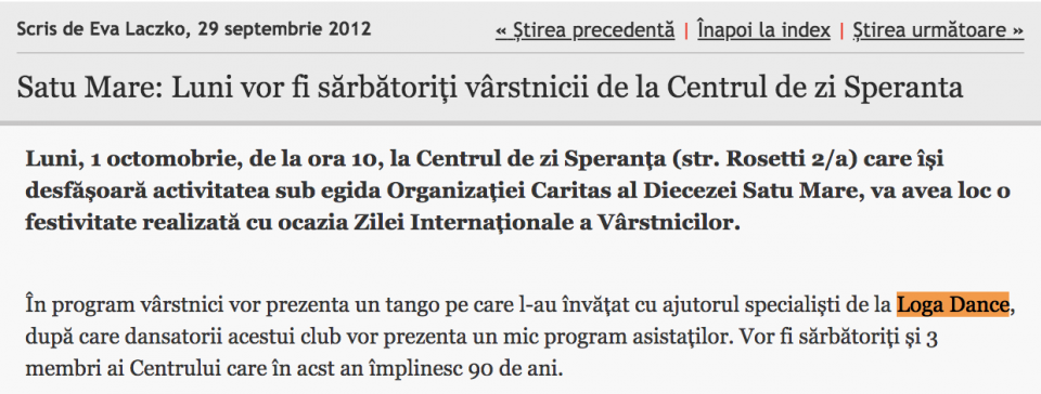 Luni vor fi sarbatoriti varstnicii de la Centrul de zi Speranta (informatia-zilei.ro)