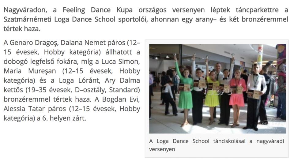 Nagyvaradon versenyeztek a szatmari tanciskolasok(frissujsag.ro)