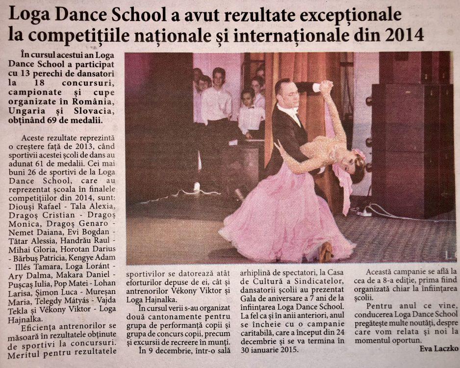 Loga Dance School a avut rezultate exceptionale la competitiile nationale si internationale din 2014 (Informatia Zilei)